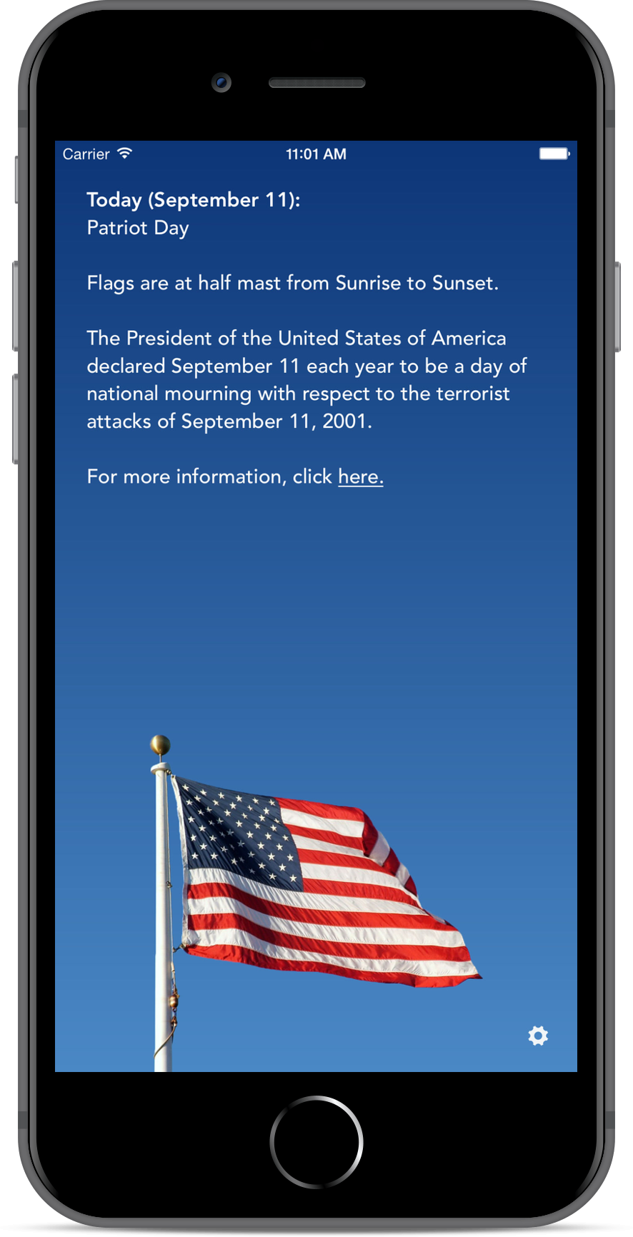 Screenshot of the Half Staff App.